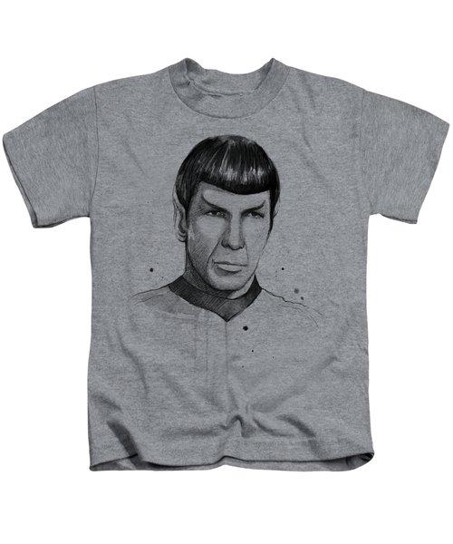 Spock Watercolor Portrait Kids T-Shirt by Olga Shvartsur
