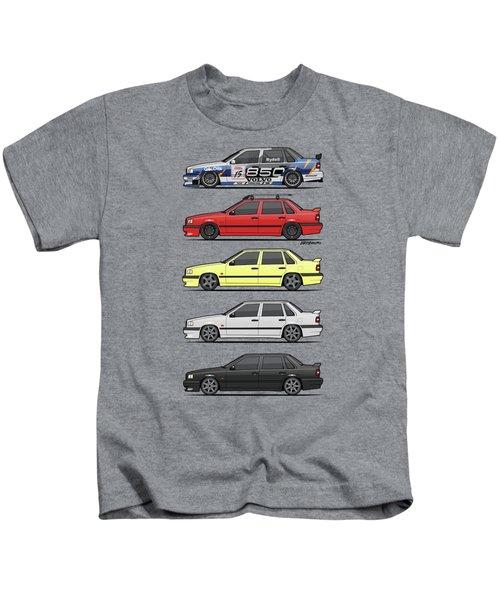 Stack Of Volvo 850r 854r T5 Turbo Saloon Sedans Kids T-Shirt by Monkey Crisis On Mars