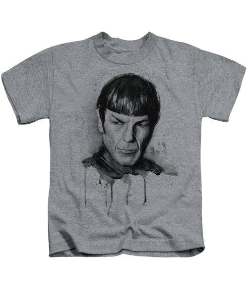 Star Trek Spock Portrait Sci-fi Art Kids T-Shirt by Olga Shvartsur
