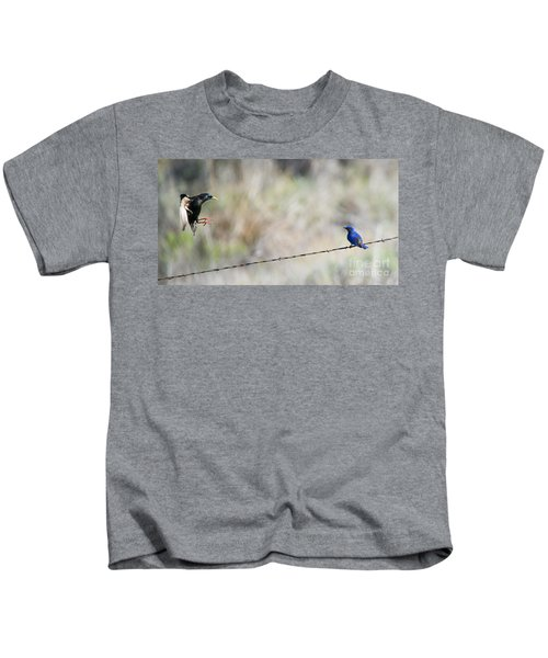 Starling Attack Kids T-Shirt by Mike Dawson