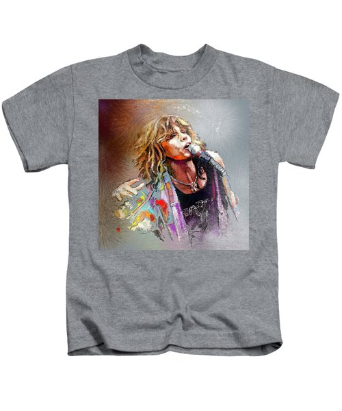 Steven Tyler 02  Aerosmith Kids T-Shirt by Miki De Goodaboom