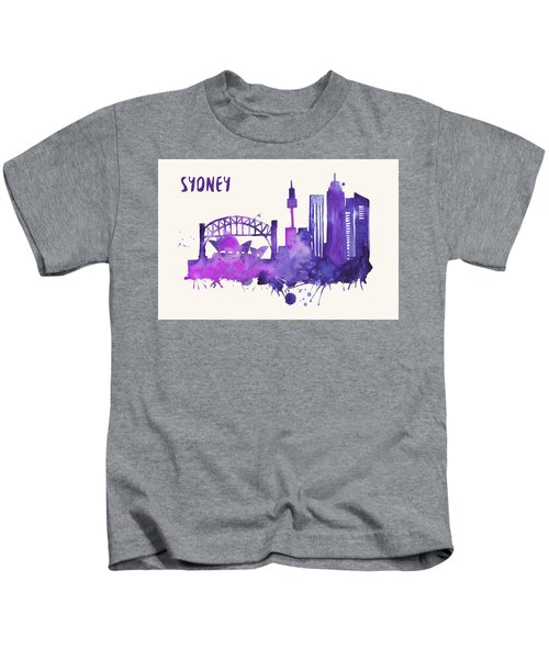 Sydney Skyline Watercolor Poster - Cityscape Painting Artwork Kids T-Shirt by Beautify My Walls
