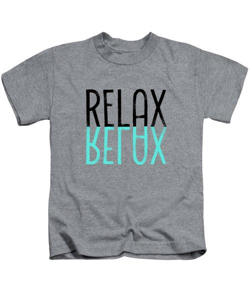 Text Art Relax - Cyan Kids T-Shirt by Melanie Viola