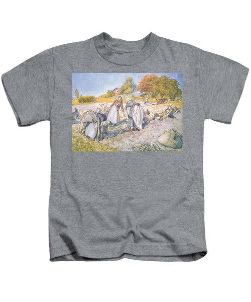The Children Filled The Buckets And Baskets With Potatoes Kids T-Shirt by Carl Larsson