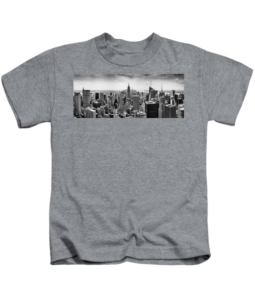 New York City Skyline Bw Kids T-Shirt by Az Jackson