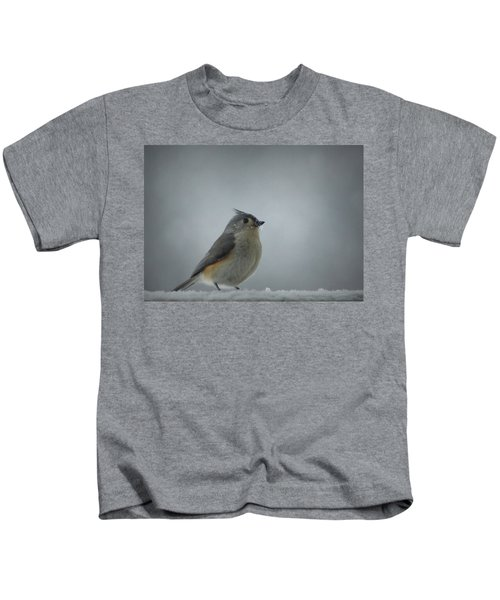 Tufted Titmouse In The Snow Kids T-Shirt by Cricket Hackmann