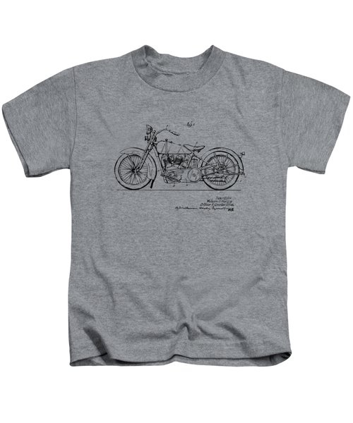 Vintage Harley-davidson Motorcycle 1928 Patent Artwork Kids T-Shirt by Nikki Smith