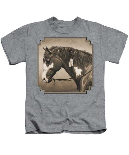 War Horse Aged Photo Fx Kids T-Shirt by Crista Forest