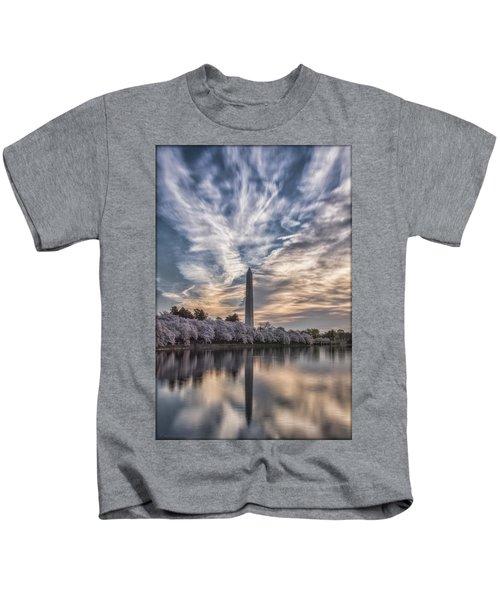Washington Blossom Sunrise Kids T-Shirt by Erika Fawcett