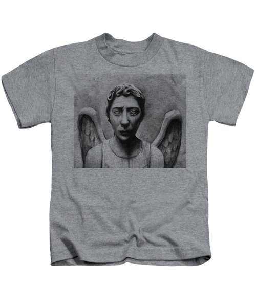 Weeping Angel Don't Blink Doctor Who Fan Art Kids T-Shirt by Olga Shvartsur