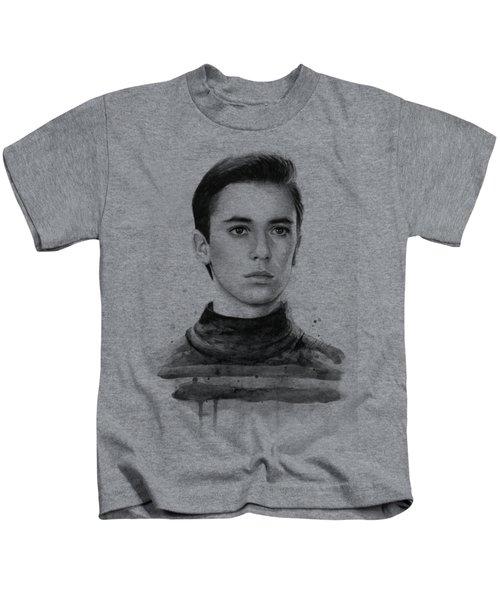 Wesley Crusher Star Trek Fan Art Kids T-Shirt by Olga Shvartsur