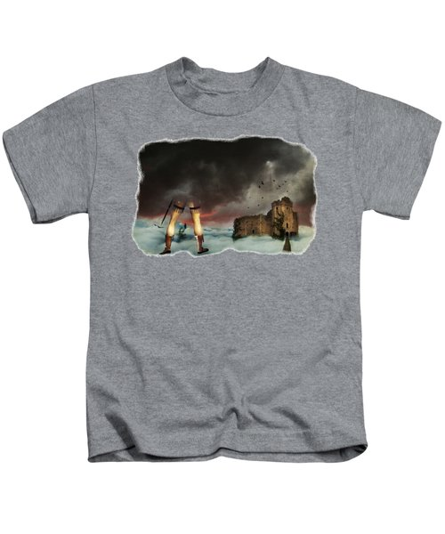 Where Giants Dwell Kids T-Shirt by Terry Fleckney