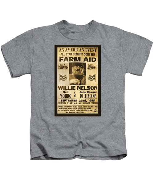 Willie Nelson Neil Young 1985 Farm Aid Poster Kids T-Shirt by John Stephens