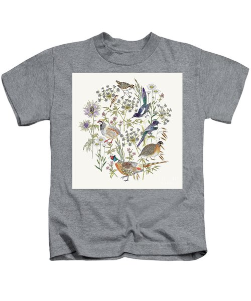Woodland Edge Birds Placement Kids T-Shirt by Jacqueline Colley