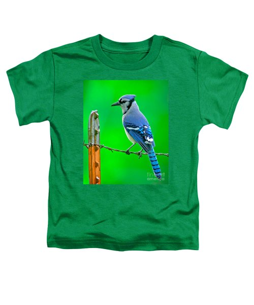Blue Jay On The Fence Toddler T-Shirt by Robert Frederick