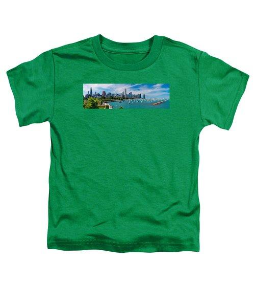 Chicago Skyline Daytime Panoramic Toddler T-Shirt by Adam Romanowicz
