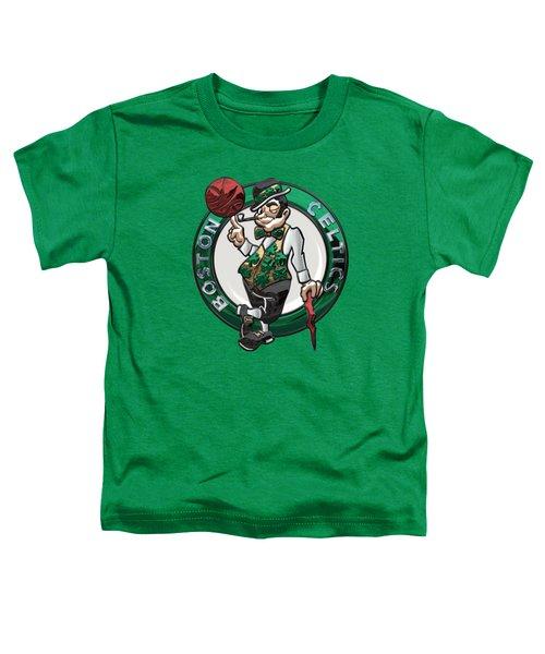 Boston Celtics - 3 D Badge Over Flag Toddler T-Shirt by Serge Averbukh