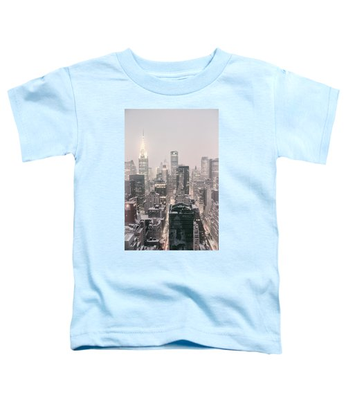 New York City - Snow Covered Skyline Toddler T-Shirt by Vivienne Gucwa