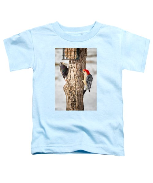 Bird Feeder Stand Off Toddler T-Shirt by Bill Wakeley