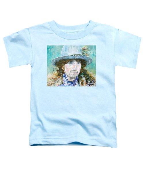 Bob Dylan Oil Portrait Toddler T-Shirt by Fabrizio Cassetta