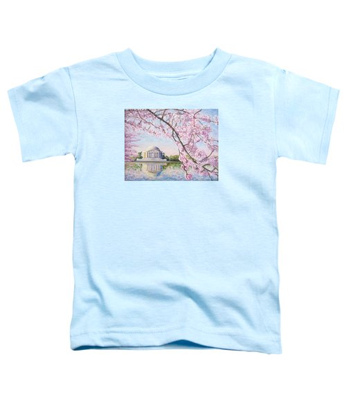 Jefferson Memorial Cherry Blossoms Toddler T-Shirt by Patty Kay Hall