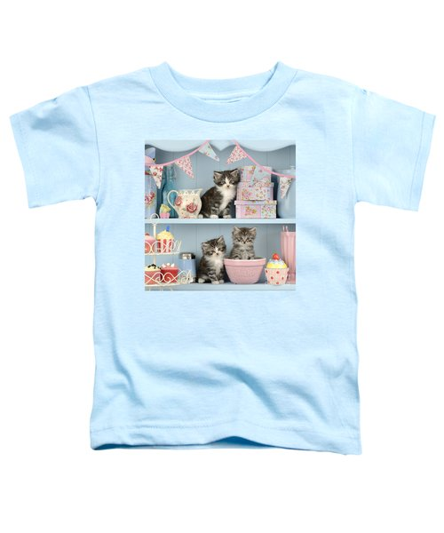 Baking Shelf Kittens Toddler T-Shirt by Greg Cuddiford