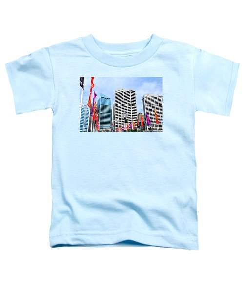 Colorful Flags Lead To City By Kaye Menner Toddler T-Shirt by Kaye Menner