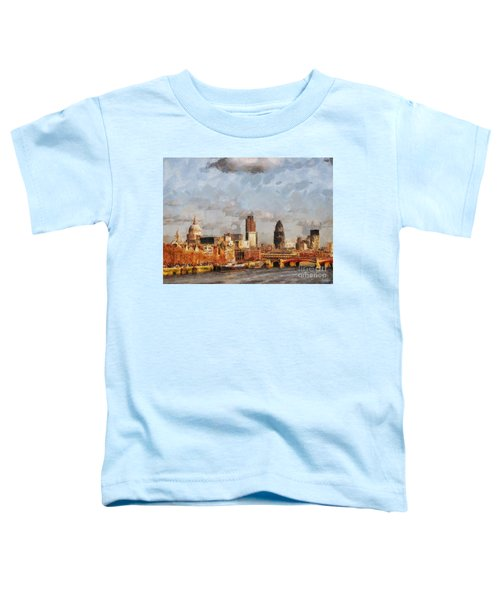 London Skyline From The River  Toddler T-Shirt by Pixel Chimp