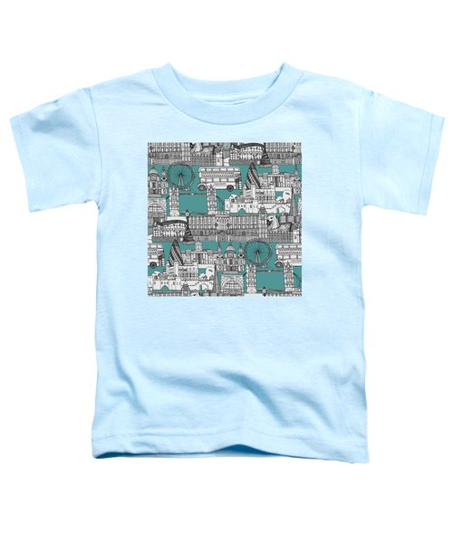London Toile Blue Toddler T-Shirt by Sharon Turner