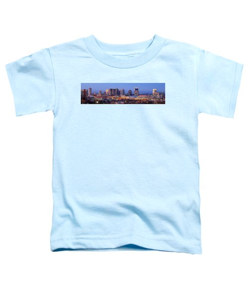 Nashville Skyline At Dusk Panorama Color Toddler T-Shirt by Jon Holiday