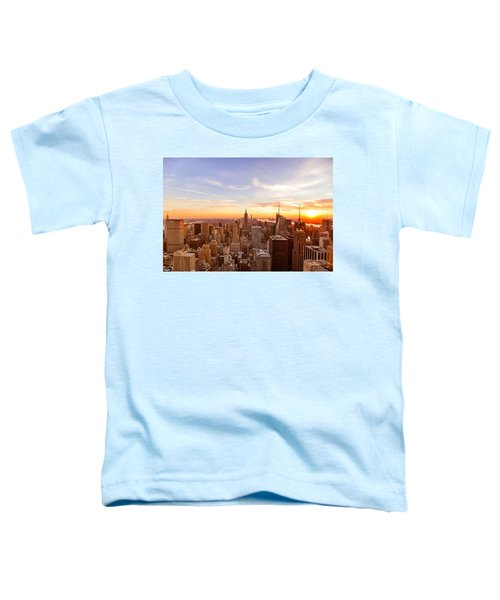 New York City - Sunset Skyline Toddler T-Shirt by Vivienne Gucwa