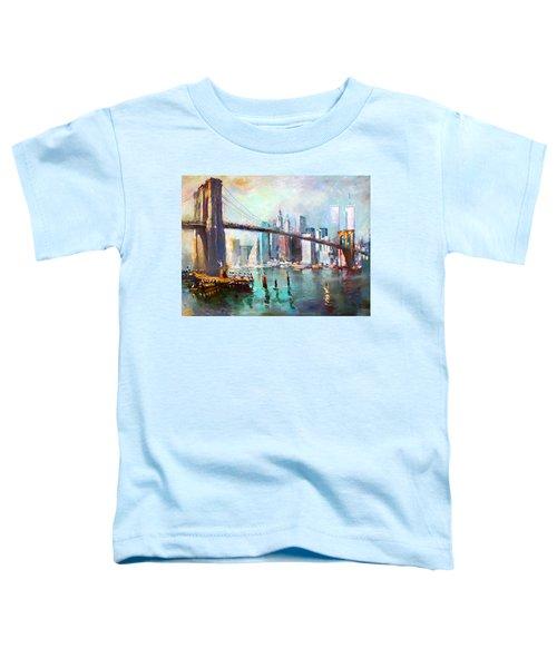 Ny City Brooklyn Bridge II Toddler T-Shirt by Ylli Haruni