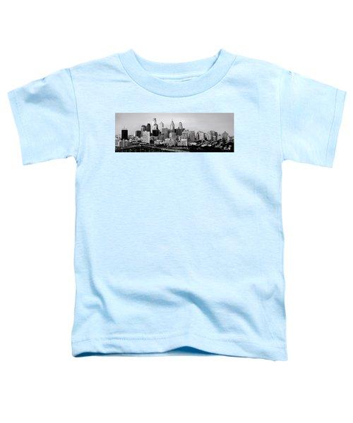 Philadelphia Skyline Black And White Bw Pano Toddler T-Shirt by Jon Holiday
