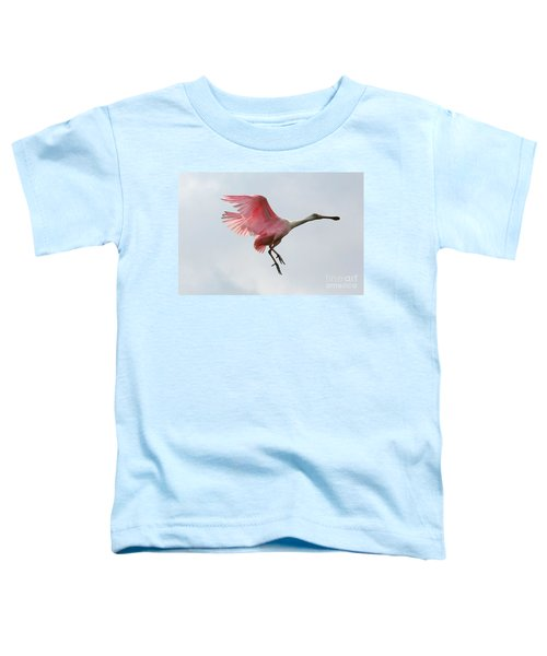 Roseate Spoonbill In Flight Toddler T-Shirt by Carol Groenen