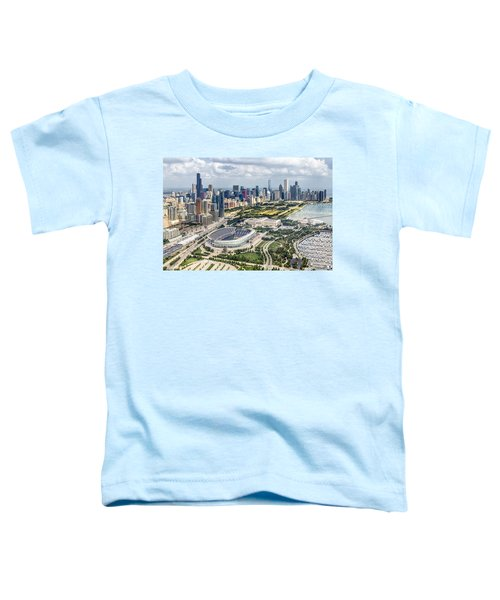 Soldier Field And Chicago Skyline Toddler T-Shirt by Adam Romanowicz