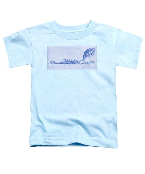 Sydney Skyline Blueprint Toddler T-Shirt by Kaleidoscopik Photography