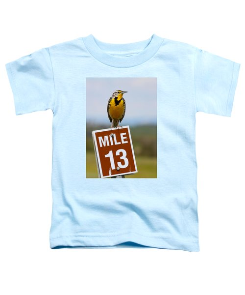 Western Meadowlark On The Mile 13 Sign Toddler T-Shirt by Karon Melillo DeVega