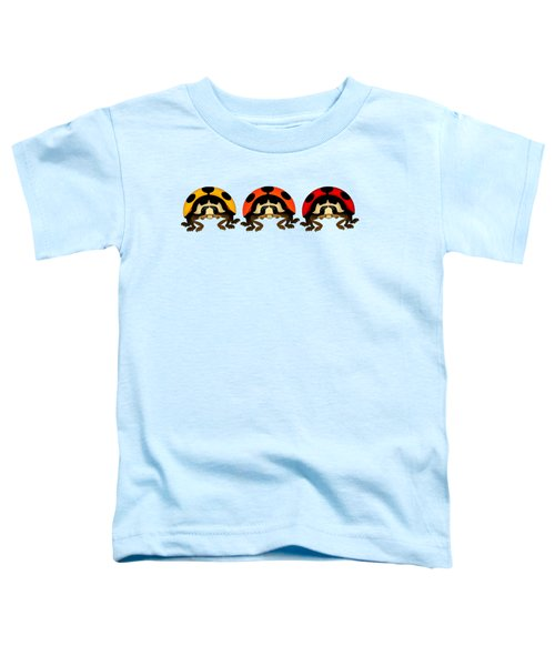 3 Bugs In A Row Toddler T-Shirt by Sarah Greenwell