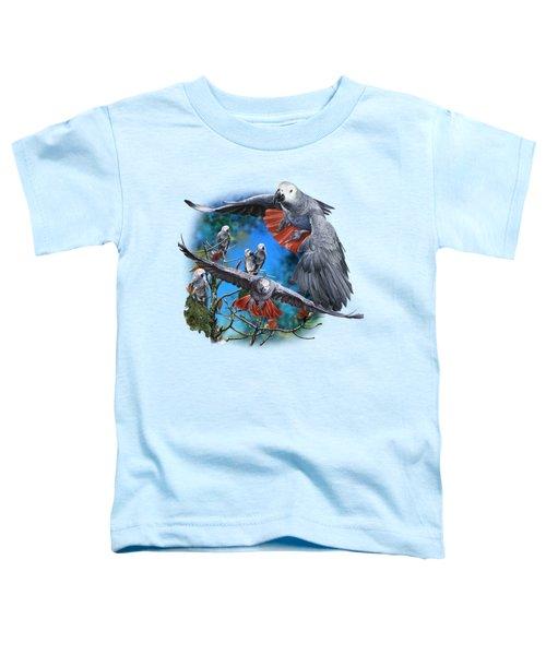 African Grey Parrots Toddler T-Shirt by Owen Bell