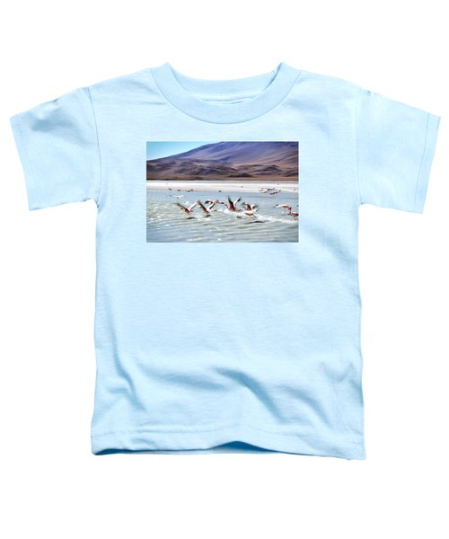 Flying Flamingos Toddler T-Shirt by Sandy Taylor