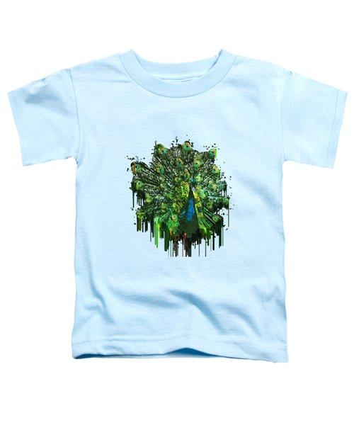 Abstract Peacock Acrylic Digital Painting Toddler T-Shirt by Georgeta Blanaru
