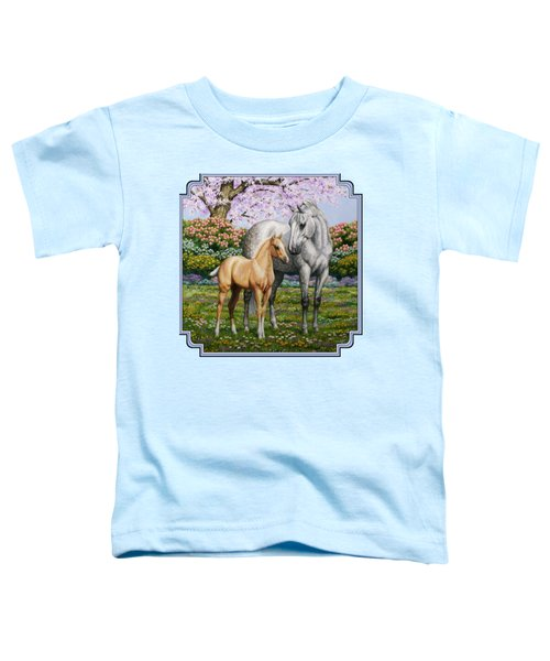 Spring's Gift - Mare And Foal Toddler T-Shirt by Crista Forest