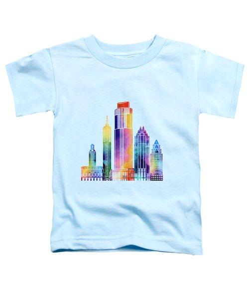 Austin Landmarks Watercolor Poster Toddler T-Shirt by Pablo Romero