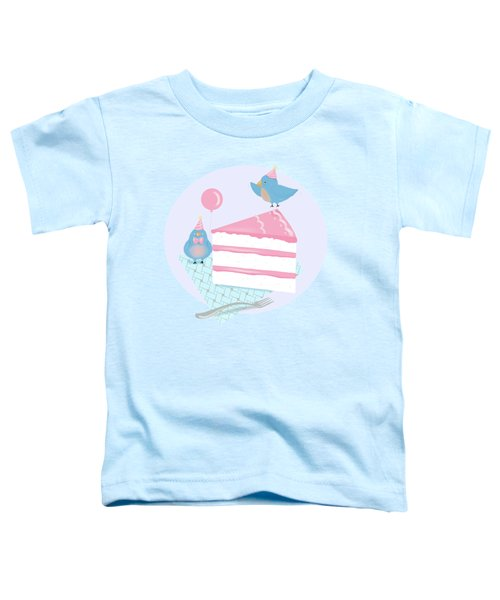 Bluebirds Love Birthday Cake Toddler T-Shirt by Little Bunny Sunshine