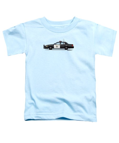 California Highway Patrol Ford Crown Victoria Police Interceptor Toddler T-Shirt by Monkey Crisis On Mars