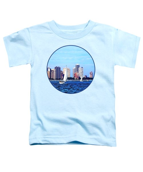 Chicago Il - Two Sailboats Against Chicago Skyline Toddler T-Shirt by Susan Savad