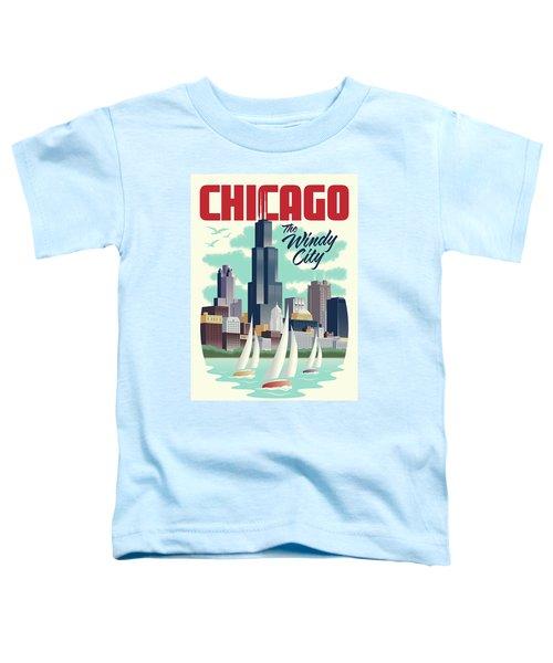 Chicago Retro Travel Poster Toddler T-Shirt by Jim Zahniser
