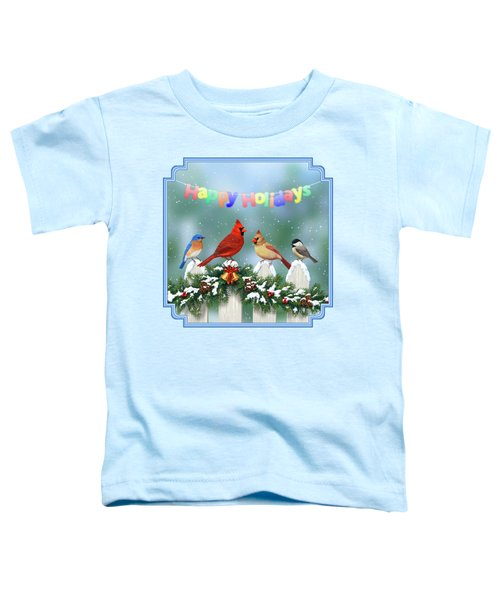 Christmas Birds And Garland Toddler T-Shirt by Crista Forest