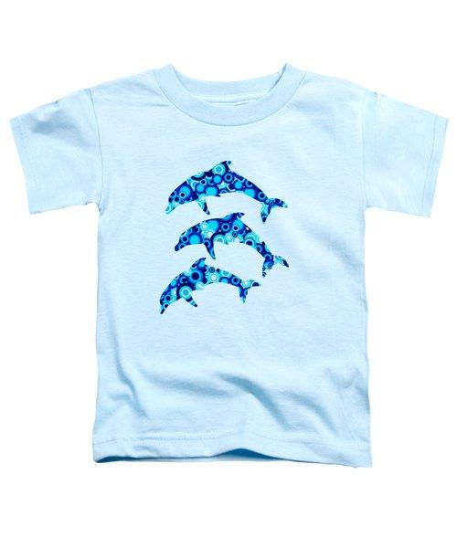 Dolphins - Animal Art Toddler T-Shirt by Anastasiya Malakhova