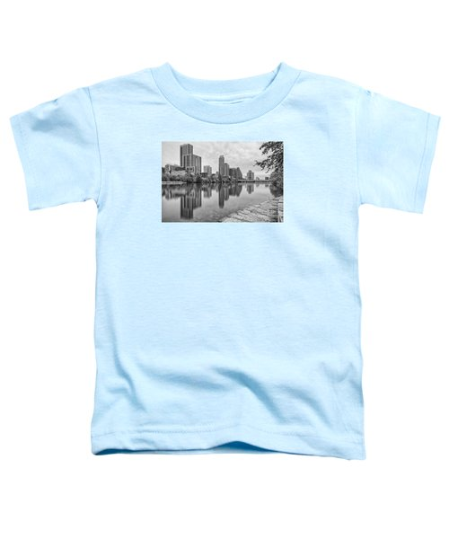 Downtown Austin In Black And White Across Lady Bird Lake - Colorado River Texas Hill Country Toddler T-Shirt by Silvio Ligutti